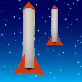 Cohete de cartón. Manualidad infantil de reciclaje