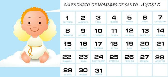 Calendario Con Santos.Calendario De Los Nombres De Santos De Agosto