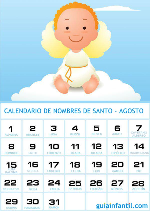 Calendario De Los Nombres De Santos De Agosto