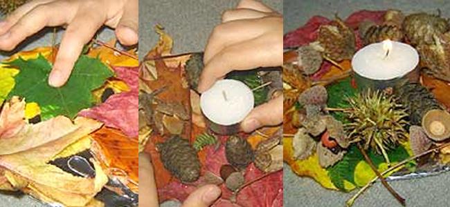 Como hacer un candelabro con hojas de otoño