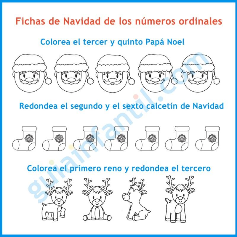 Fichas Y Juegos De Navidad Para Enseñar Los Números Ordinales A Los Niños