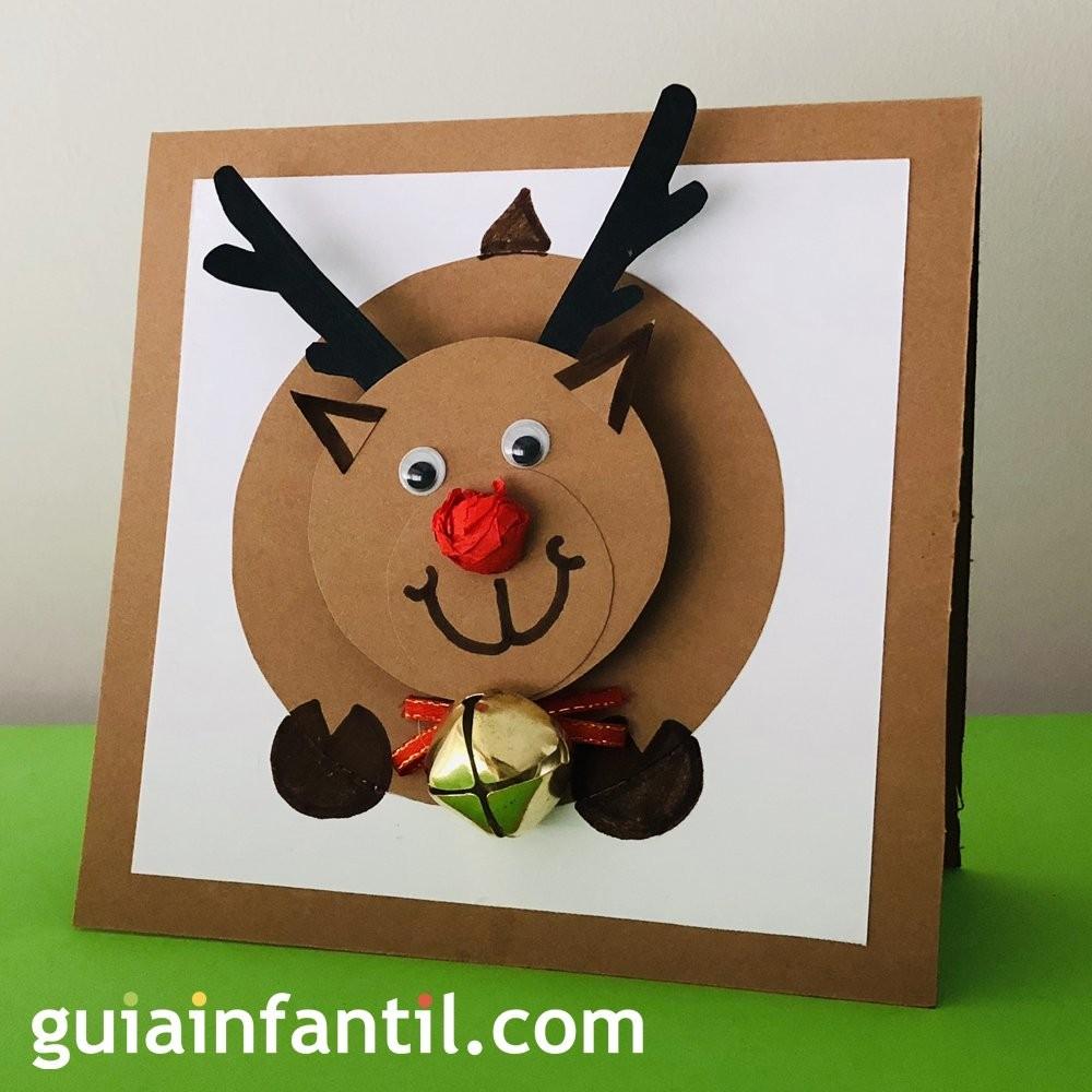 Original Tarjeta De Navidad Con Un Reno En 3d Manualidades Con Ninos - Tarjeta-de-navidad-original