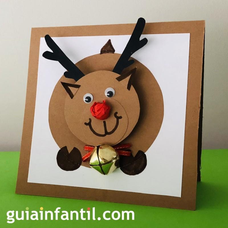 Dibujos Para Tarjetas De Navidad Para Ninos.Original Tarjeta De Navidad Con Un Reno En 3d Manualidades