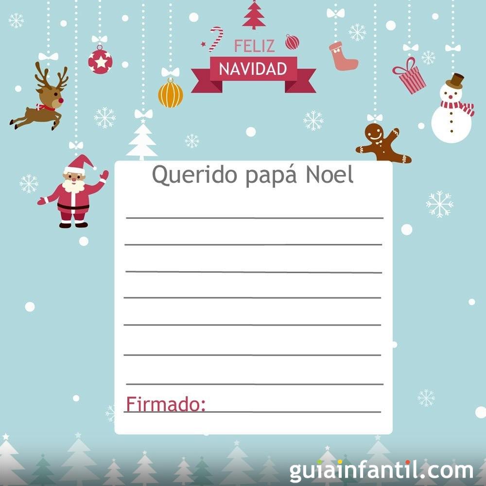 Modelo de carta con figuras de la Navidad para Santa Claus