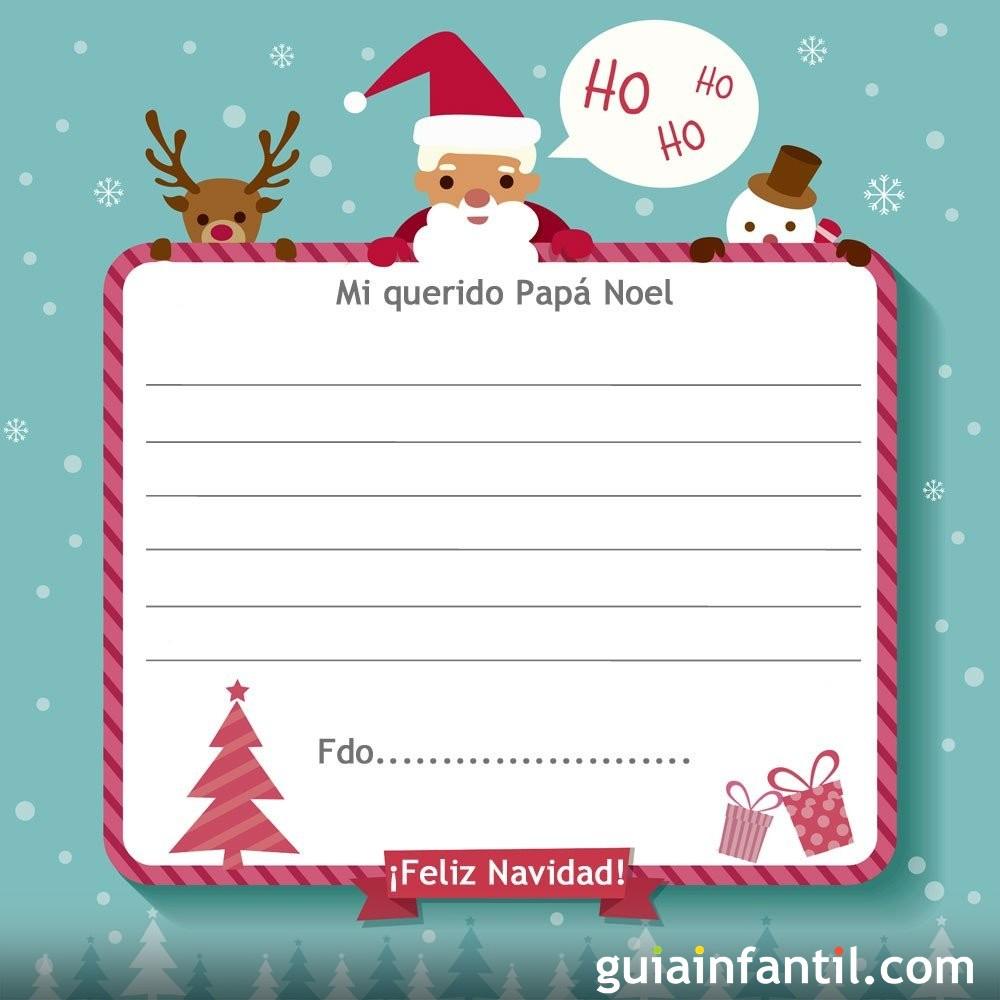 Modelo tierno de carta para papá Noel