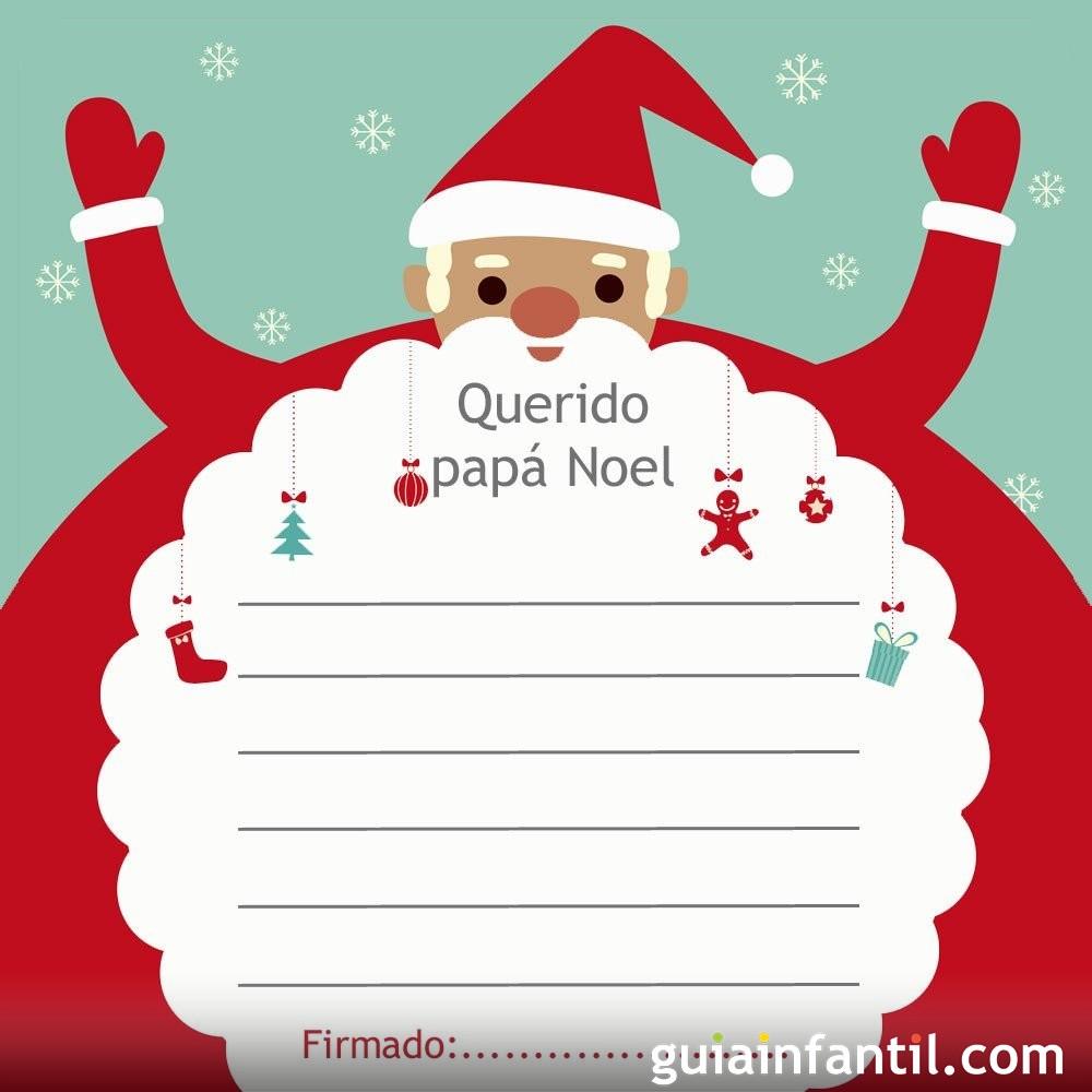 Modelo de carta con el abrazo de papá Noel