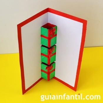 Tarjeta de Navidad casera con regalo sorpresa para los niños