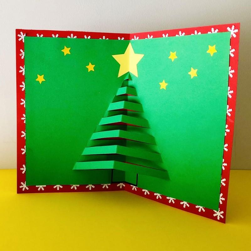 Hacer Postales Navidenas Fotos.Tarjeta Con Arbol De Navidad 3d Postal Navidena Pop Up