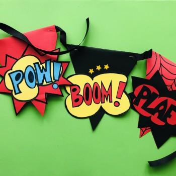 Banderines para fiestas infantiles de superhéroes
