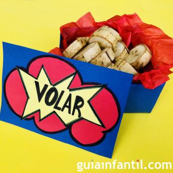 Caja de Origami con fruta para tus fiestas infantiles de superhéroes