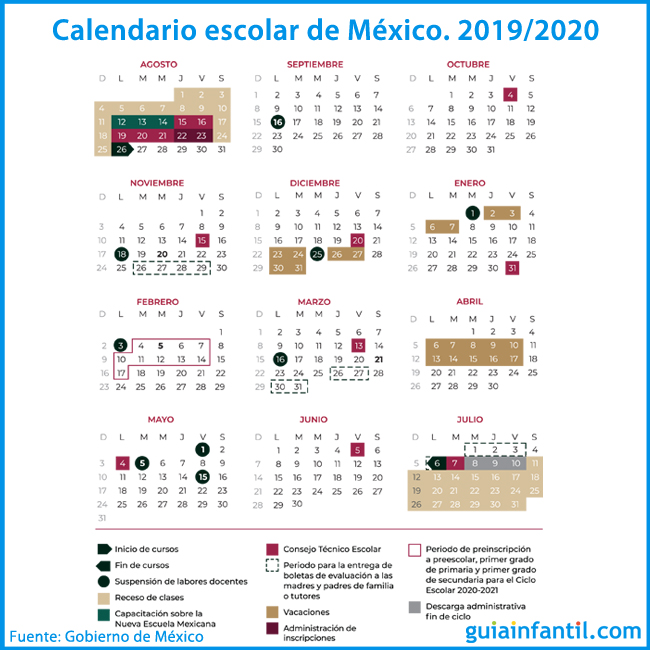 Calendario 2019 Escolar 2020 Madrid.Calendario Escolar De Mexico Para El Curso 2019 2020 Fechas A Recordar