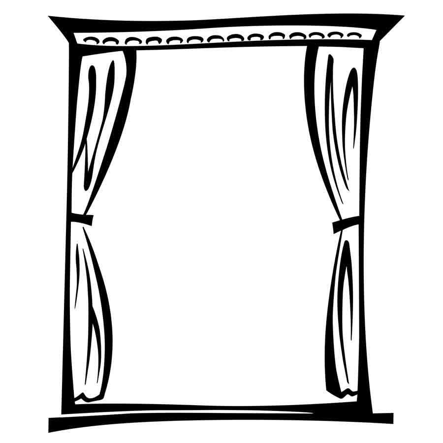 Dibujo para colorear de una ventana con cortinas