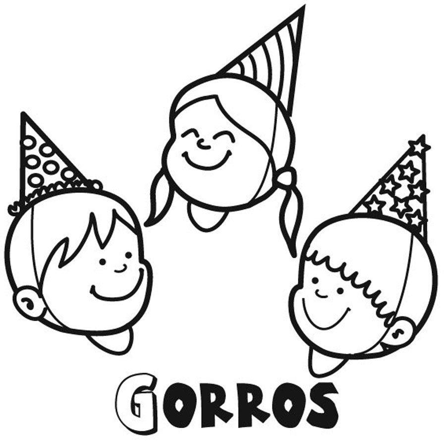 Dibujo para pintar de niños celebrando un cumpleaños