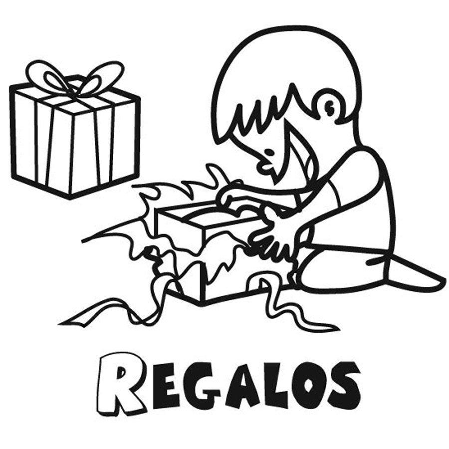 Dibujo para colorear de niño abriendo sus regalos