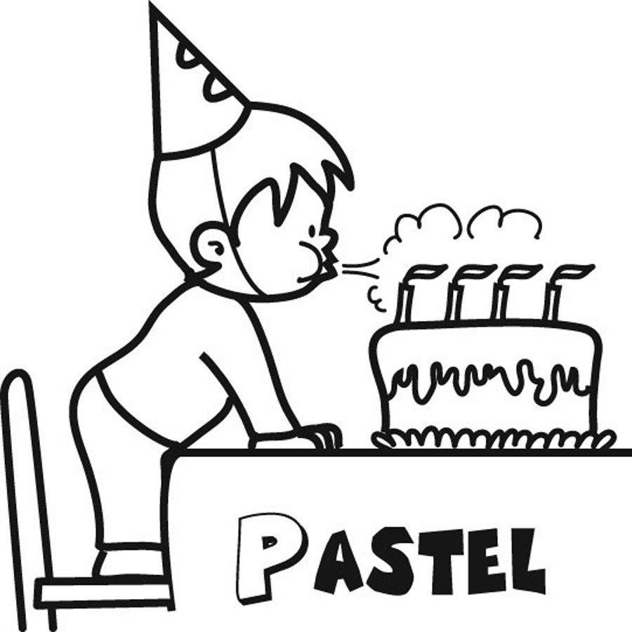 Dibujo de un niño soplando velas para colorear