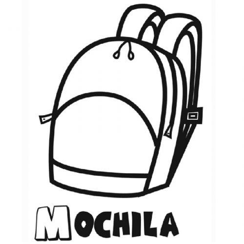 Dibujo de una mochila para imprimir y pintar