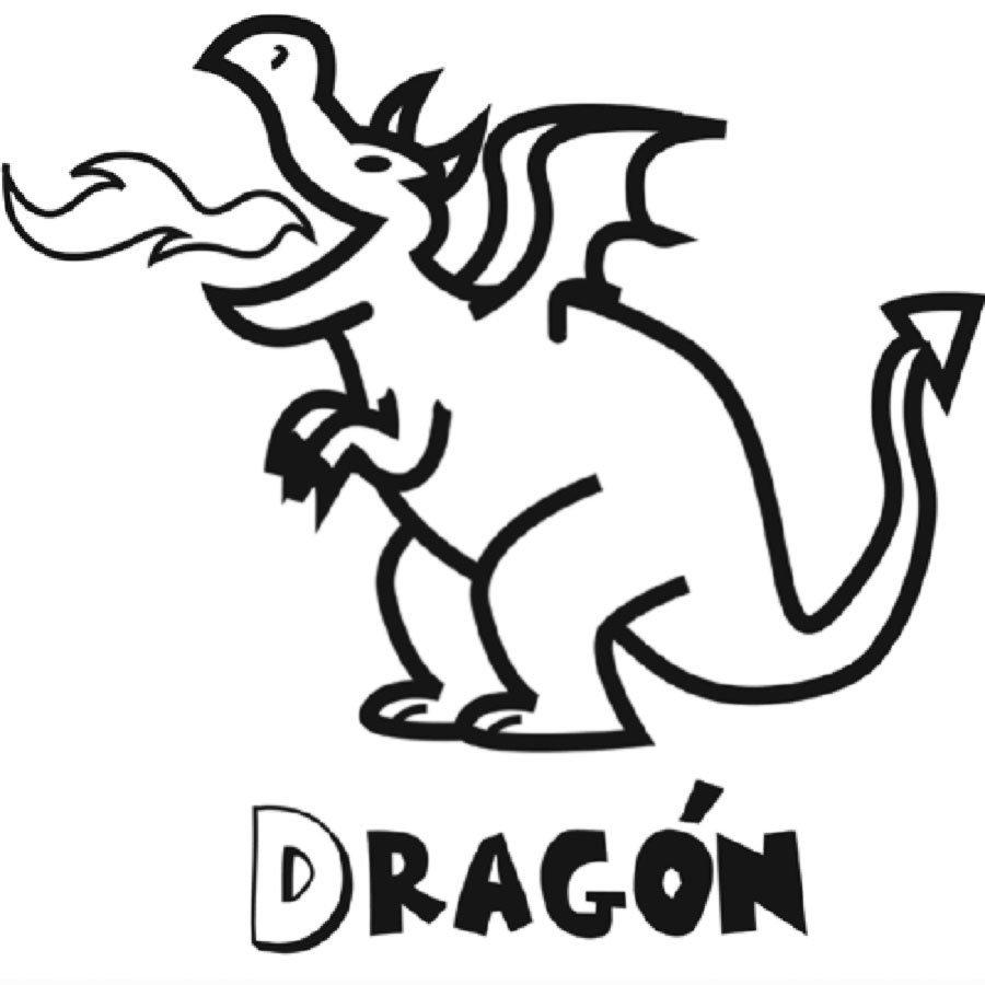 Dibujo de un dragón para imprimir y pintar