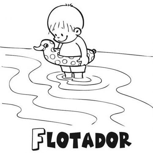 Dibujo de un niño con flotador para imprimir y pintar