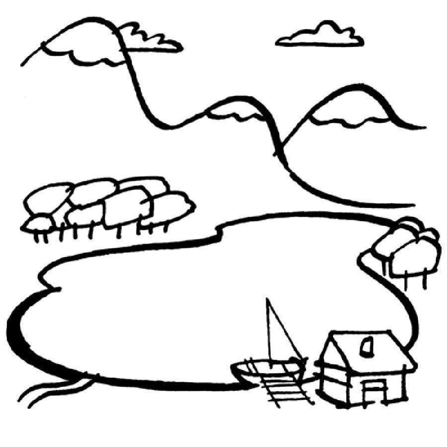 Dibujo para colorear de casa en el bosque