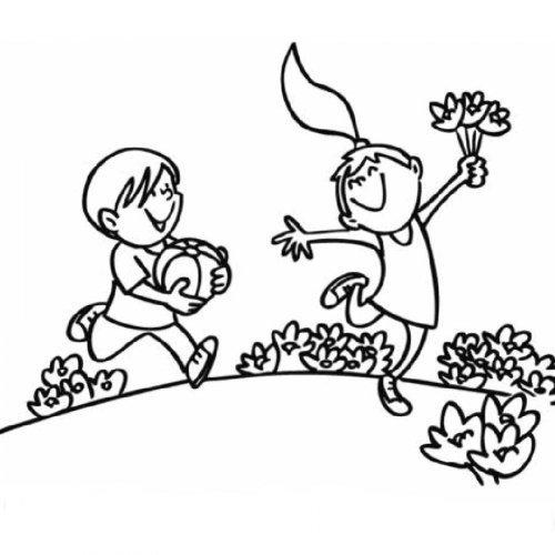 Dibujo de niños paseando en la montaña