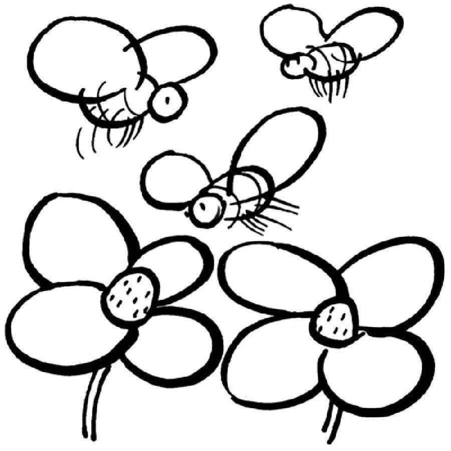 Dibujo para colorear de abejas y flores