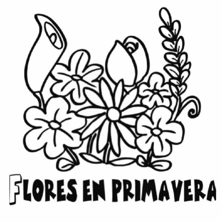 Dibujo para pintar de un ramo de flores