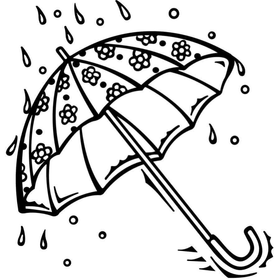 Dibujo para colorear de un paraguas con lluvia