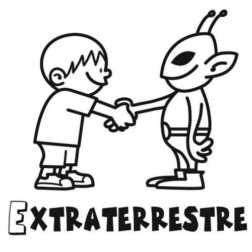 Dibujo para pintar de un niño con un alien