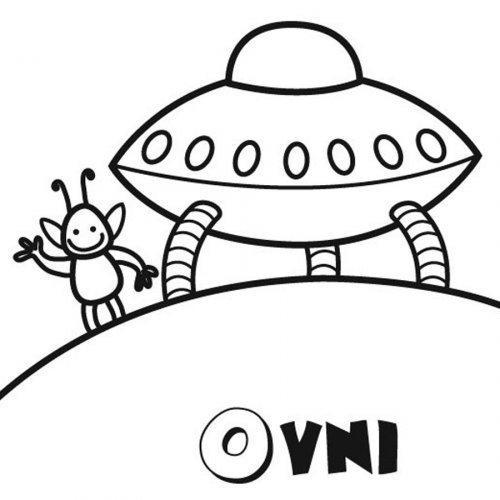 Dibujo de un ovni y un alien para pintar