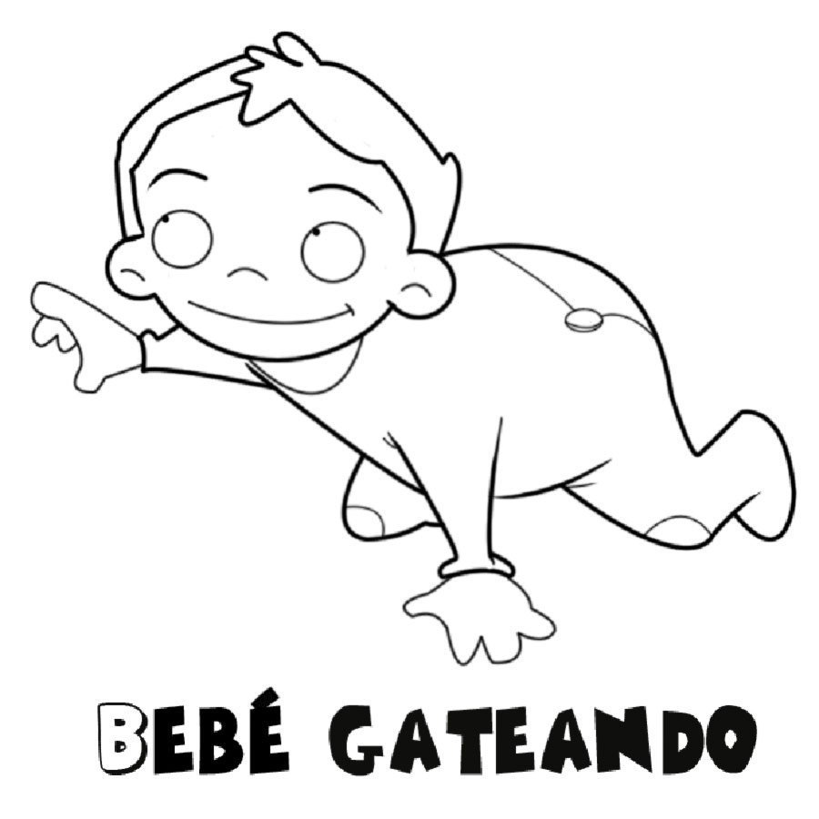 Dibujo para colorear de bebé gateando