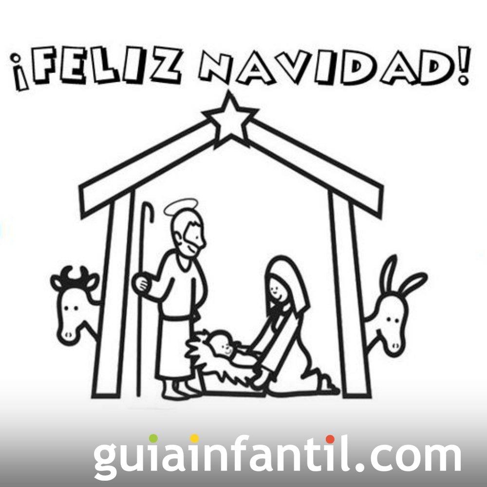 Postal navideña con Portal de Belén para colorear