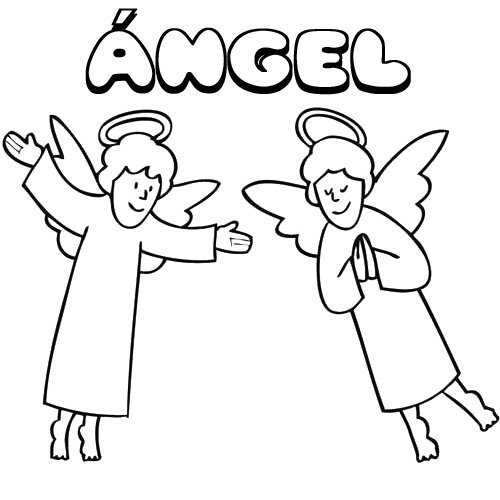 Ángel. Nombres de Navidad para colorear