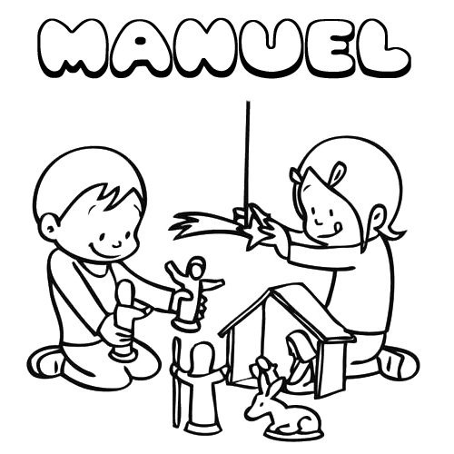Manuel. Nombres de Navidad para colorear