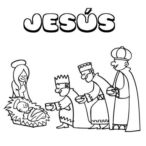 Jesús. Nombres de Navidad de niño para colorear