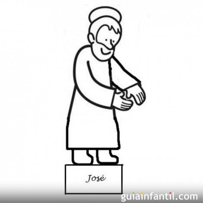 Dibujo de San José para recortar y colorear