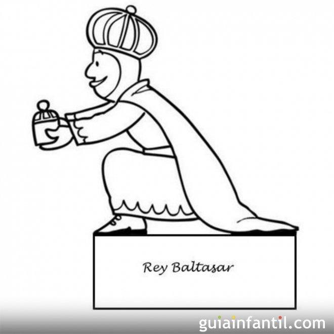 Dibujo del rey Baltasar para recortar y colorear