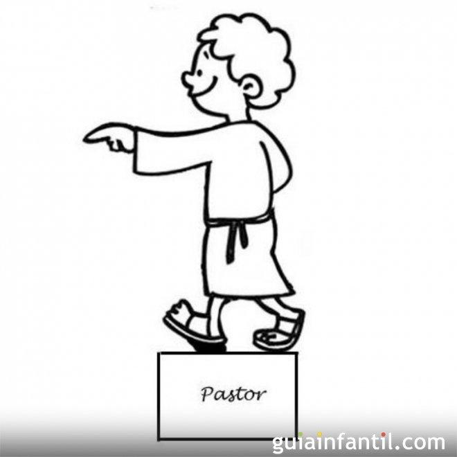 Dibujo del Pastor para recortar y colorear