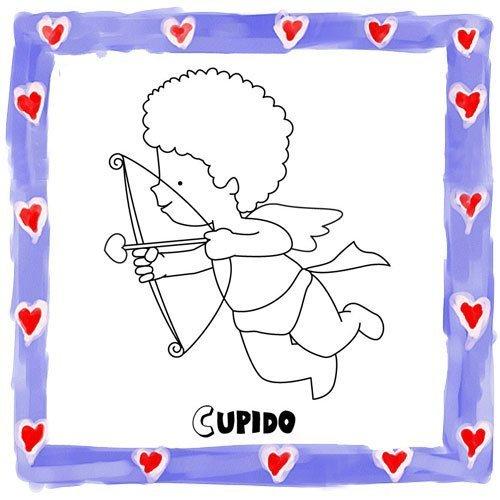 Dibujo de Cupido para imprimir y pintar