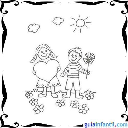 Dibujo de niños con flores y corazones para colorear