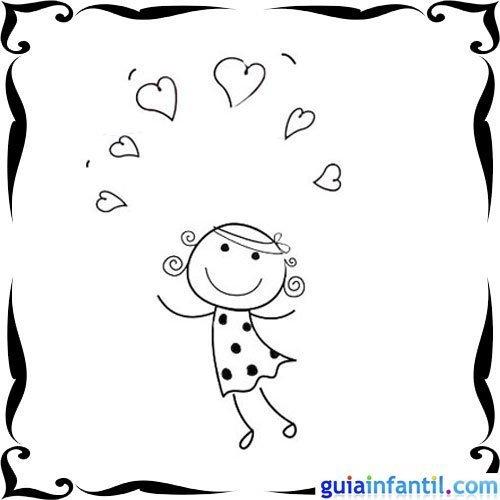 Dibujo de una niña rodeada de corazones para pintar