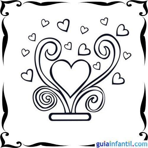 Dibujo de corazones para pintar con los niños