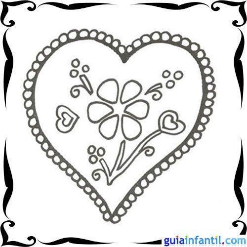 Dibujo de flores y corazones para niños