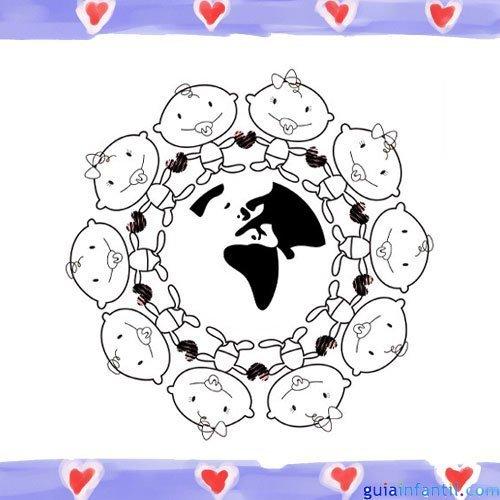 Bebés unidos del mundo. Dibujos para pintar con niños