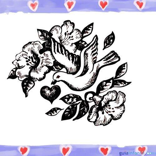 Paloma de la Paz y un corazón. Imágenes para pintar