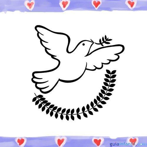 Paloma de la paz con laurel. Imagen para pintar con niños