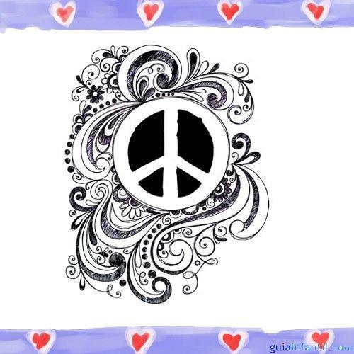 Símbolo de la paz. Imagen para pintar con niños