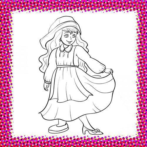 Disfraz de Cenicienta para colorear con niños