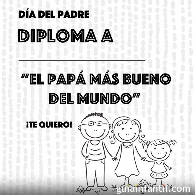 Diploma el padre más bueno. Dibujos para colorear
