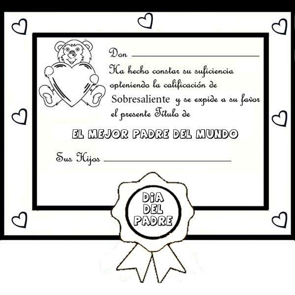Diploma del mejor padre. Dibujos para colorear