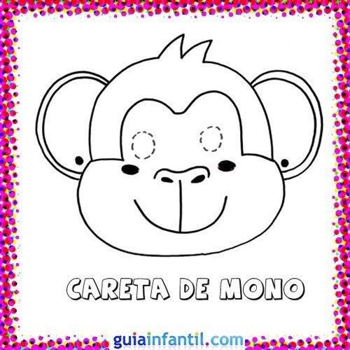 Careta de mono. Dibujos de Carnaval para niños